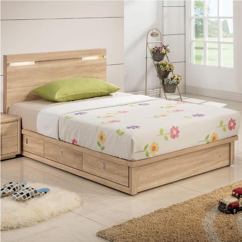 品家居 朵雅莉3.5尺木面單人床架(床片+抽屜床底)不含床墊