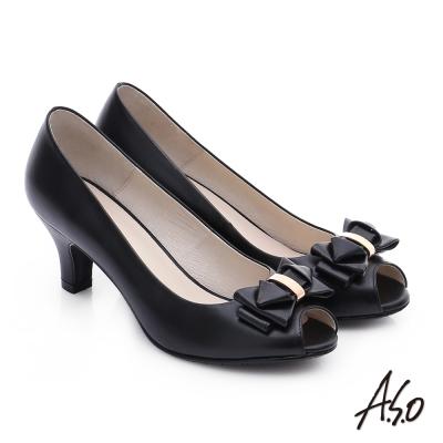 A.S.O 優雅美型 真皮甜美蝴蝶結魚口跟鞋 黑色