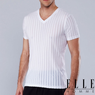 ELLE HOMME涼感V領短袖T恤/男內衣-白/黑《超值二件組》