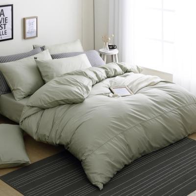 DON極簡生活-森林綠 加大四件式200織精梳純棉被套床包組