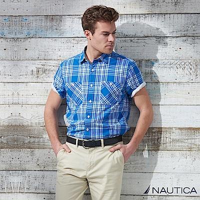 Nautica 潮男造型格紋短袖襯衫 -藍