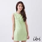 IBS 削肩圓領復古洋裝-綠-女