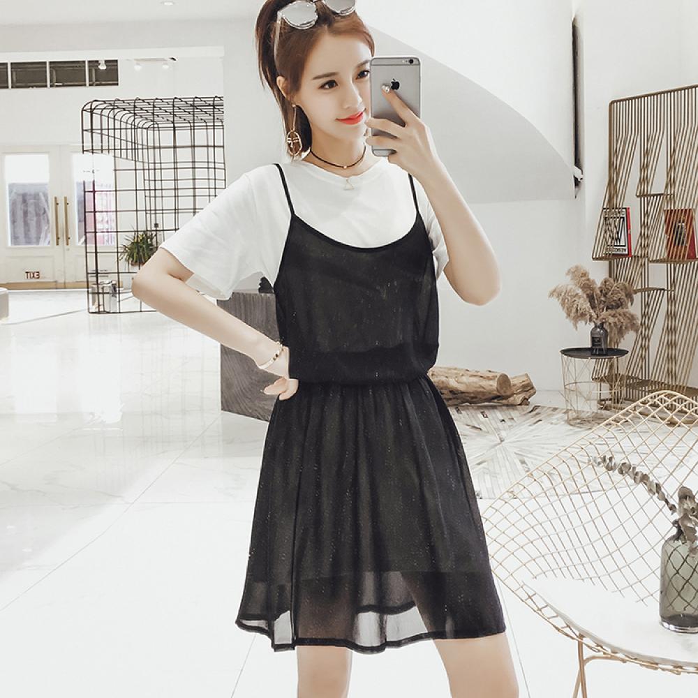中大尺碼白色上衣細肩雪紡長背心加鬆緊腰雪紡裙XL~4L-Ballet Dolly product image 1