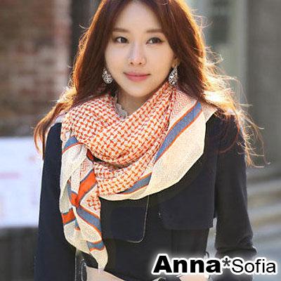 AnnaSofia-俐落幻線-巴黎紗披肩圍巾-米黃底