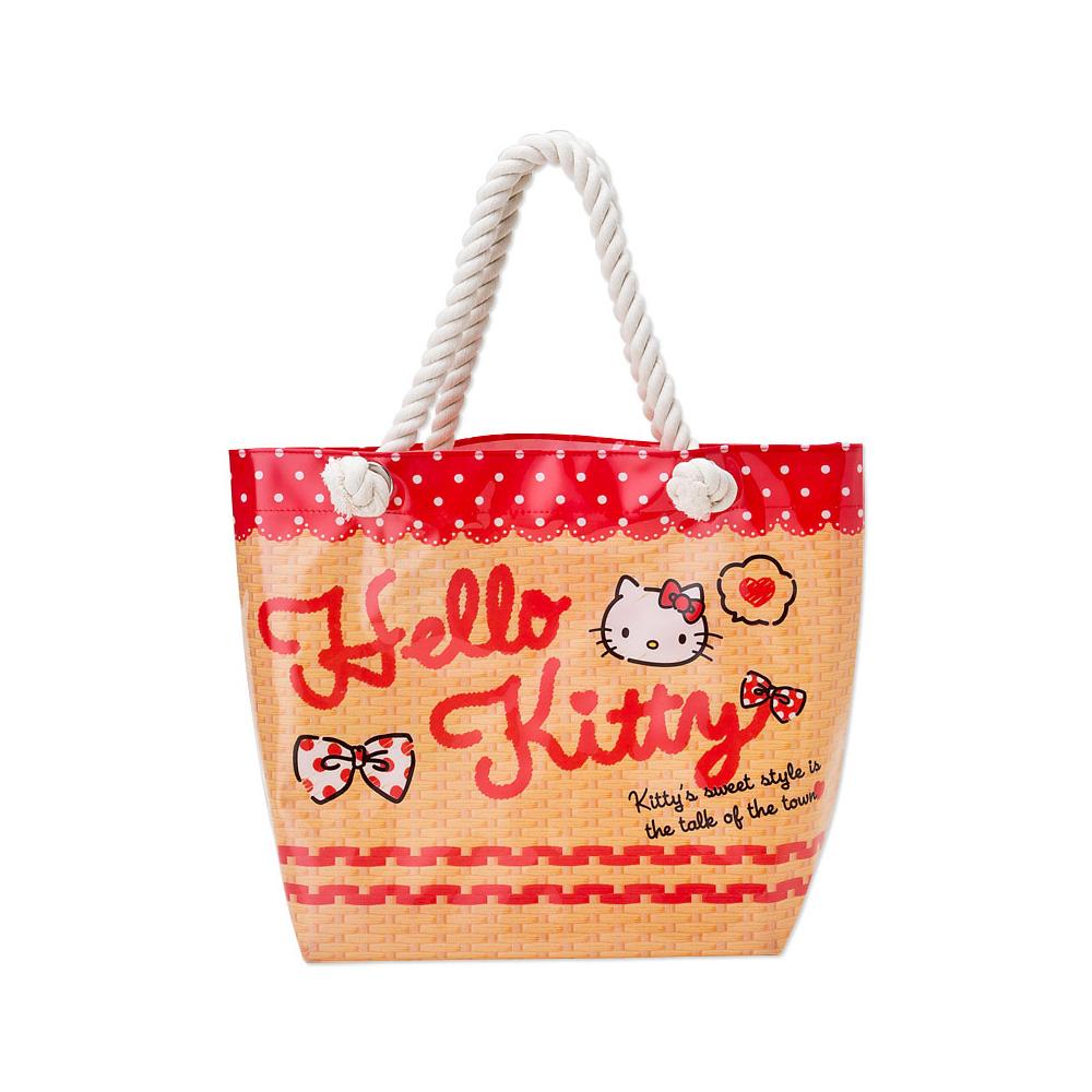 Sanrio HELLO KITTY防水麻繩提袋(蕾絲)