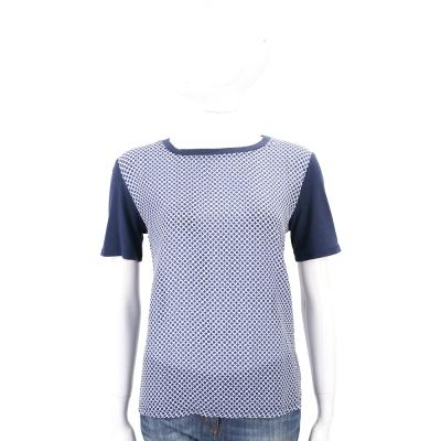 Max Mara-WEEKEND 藍色圓點雪紡拼接短袖棉質T恤