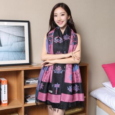 Seoul-Show-藏傳花間-仿羊絨圍巾披肩-黑