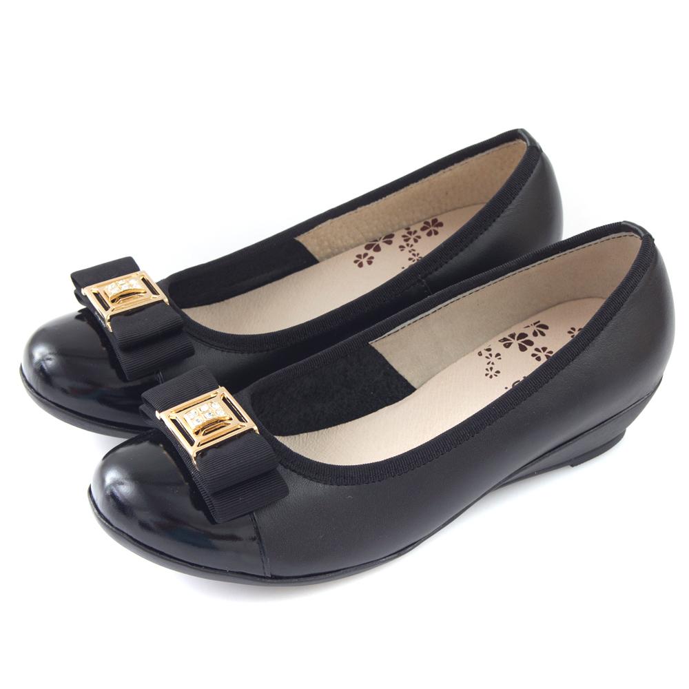 G.Ms.  MIT系列-全真皮鑽飾織帶蝴蝶結小坡跟鞋-品味黑