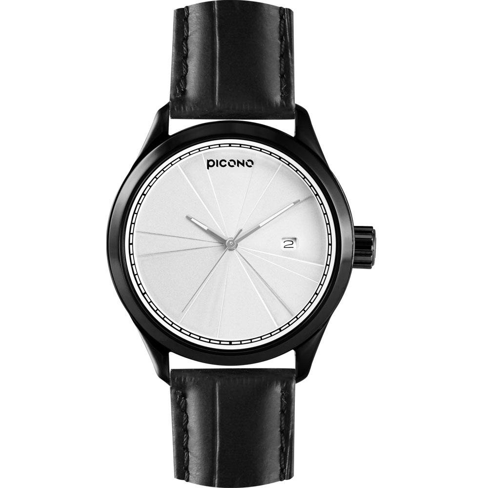 PICONO 層次系列 視覺品味時尚腕錶-銀白x黑框/48mm