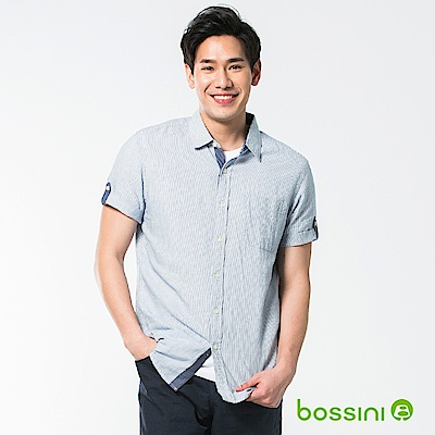 bossini男裝-休閒棉麻短袖襯衫03海軍藍