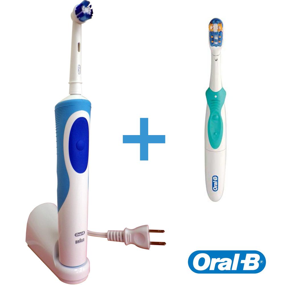 下殺-德國百靈歐樂B超潔淨電動牙刷(D12013N+B1010)(牙齒美百組)