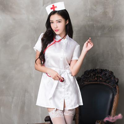 角色扮演 經典純白護士角色扮演服六件組(紅+白F) Lorraine