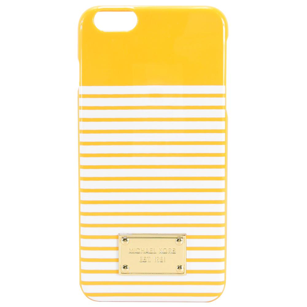 MICHAEL KORS 方牌飾雙色條紋 iPhone6/6s手機殼(黃/白)