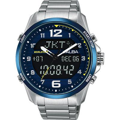 ALBA 雅柏 W兩個世界雙顯限量腕錶(AZ4025X1)-藍/44mm