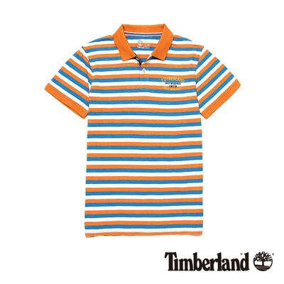 Timberland-男款焦橙色條紋燙印字母短袖Polo衫