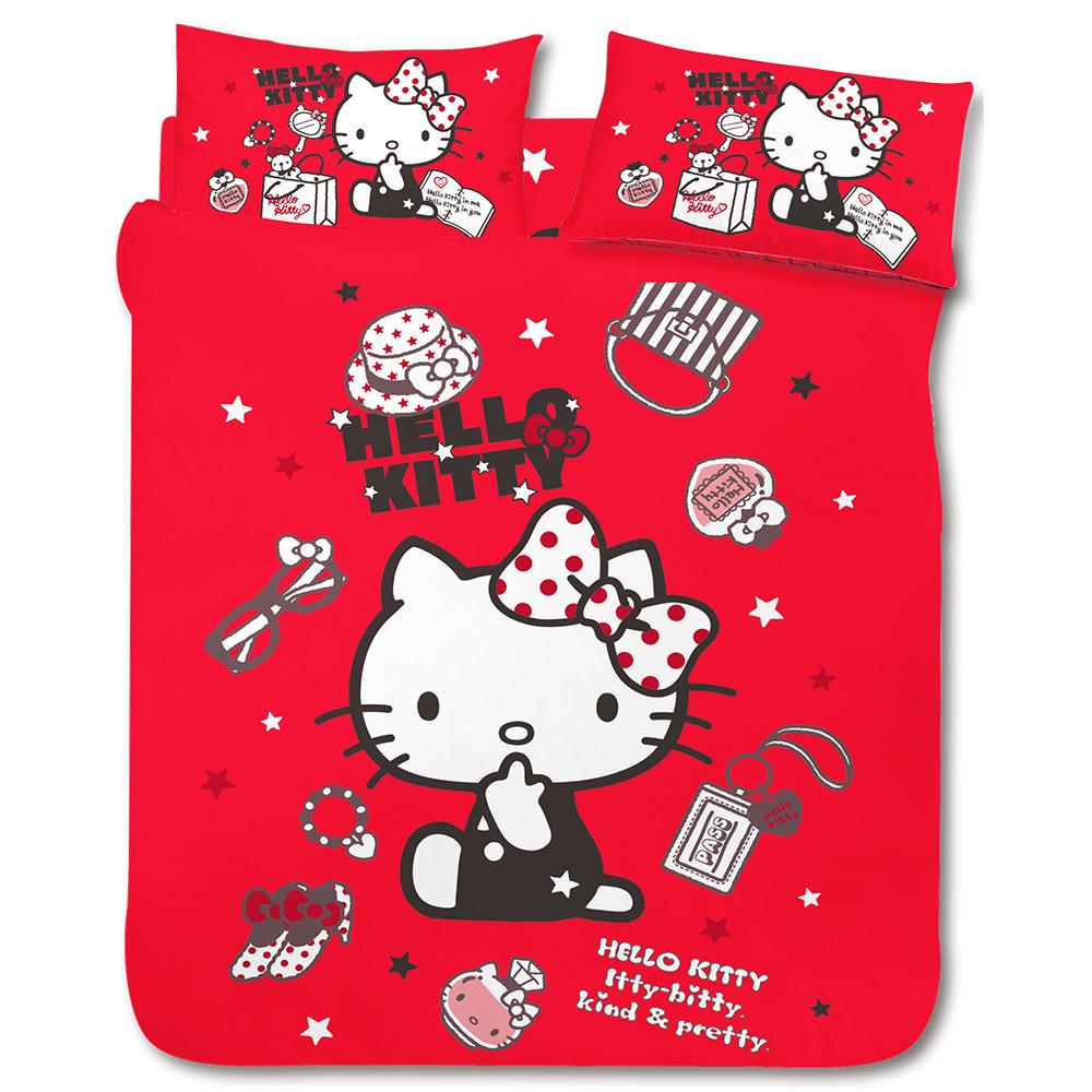 HELLO KITTY 時尚寶盒系列-雙人四件式床包涼被組(紅)