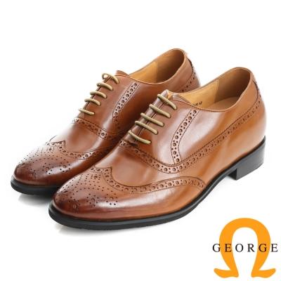 GEORGE 喬治-內增高系列 小牛皮紳士鞋皮鞋(男)-棕色