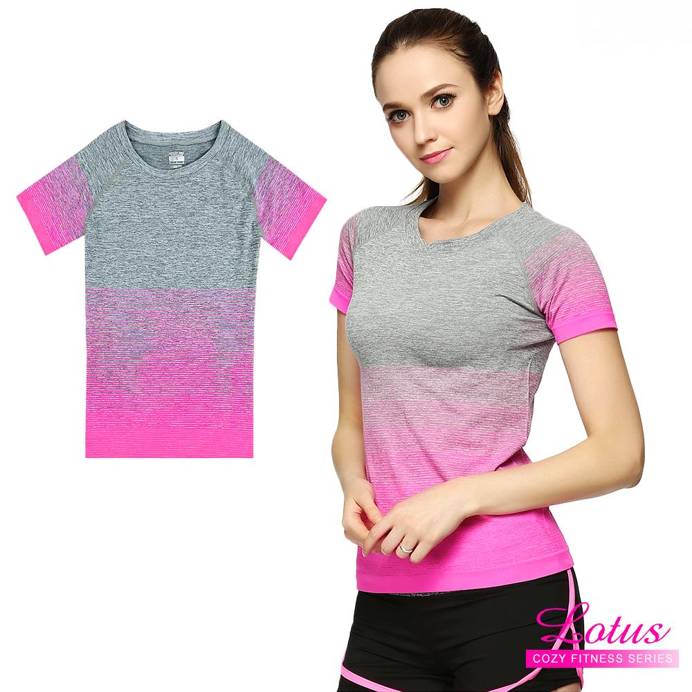 運動T恤 質感漸層立體剪裁彈力速乾短袖運動上衣-蜜桃粉 快速到貨 LOTUS
