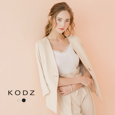 東京著衣-KODZ 俐落質感V型剪接七分袖小衩口西裝外套-S.M.L(共二色)