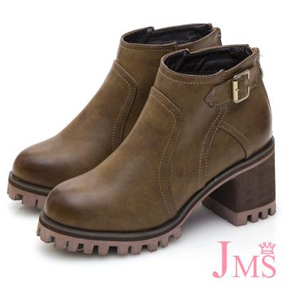 JMS-復古擦色拼接搭扣後拉鍊短靴-棕色