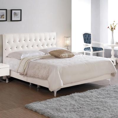 Boden-波娜6尺白色皮革雙人加大床組(不含床墊)