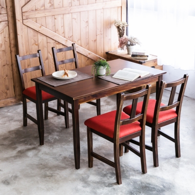CiS自然行- 實木餐桌椅組一桌四椅 74x118公分/焦糖+橘紅色椅墊