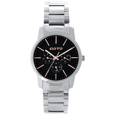GOTO 繽紛色彩時尚腕錶-黑x玫/40mm