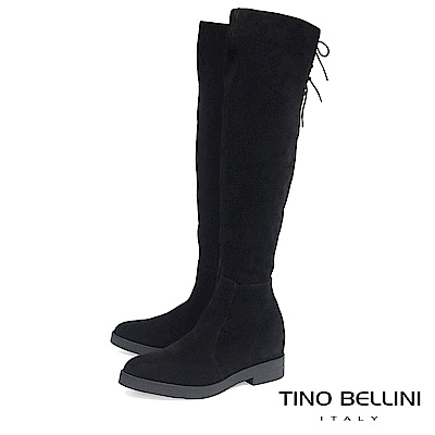 Tino Bellini 義大利進口麂皮心機內增高過膝靴_ 黑