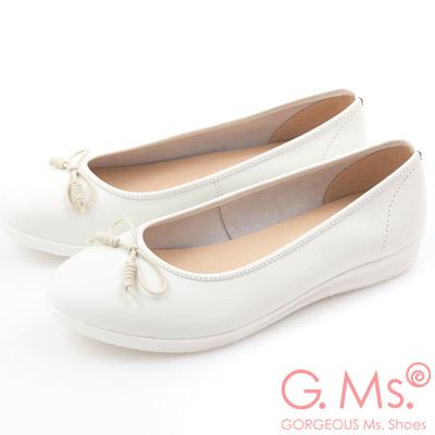 G.Ms. MIT系列-羊皮線圈綁繩蝴蝶結包鞋-綿糖白
