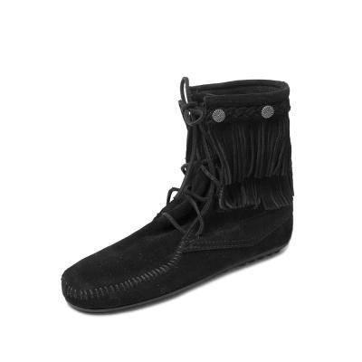 MINNETONKA-DOUBLE FRINGE綁帶雙層流蘇短靴-黑色