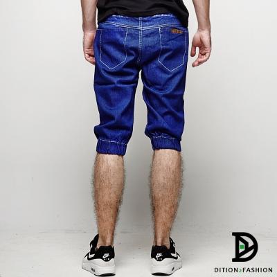 DITION 熱銷款DENIM洗舊皮革牛仔褲 五分縮口褲