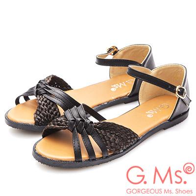 G.Ms. 扭結蝴蝶結涼平底涼鞋-黑色