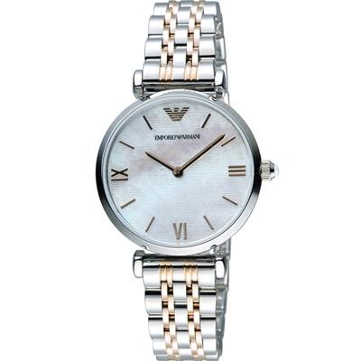 Emporio Armani Ladies 絢麗時尚腕錶-雙色/32mm