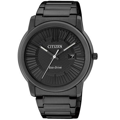CITIZEN 羅馬時標光動能炫黑時尚錶(AW1215-54E)-IP黑/40mm