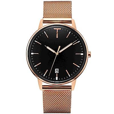 TYLOR 簡約質感米蘭帶手錶-黑X玫瑰金/38mm
