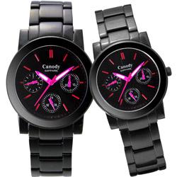 Canody 甜蜜約定三眼日曆時尚對錶-IP黑x桃紅時標