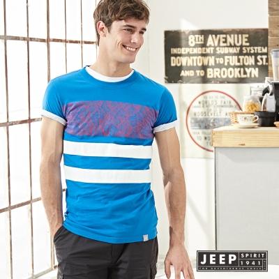 JEEP 美式印花純棉短袖TEE 水藍色 (合身版)