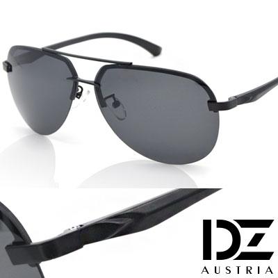 【2件59折】DZ 歐紳型潮 抗UV 偏光 太陽眼鏡墨鏡(黑框灰片)