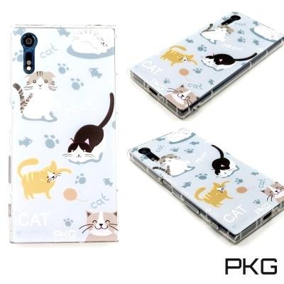 PKG SONY XZ/XZS空壓氣囊保護殼-浮雕彩繪-玩耍貓