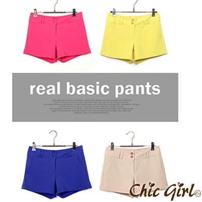 【Chic Girl】活潑亮彩螢光色休閒短褲 (共六色)