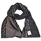 FENDI SCIARPA 素雅雙側FF LOGO滾邊雙面羊毛圍巾(黑/灰)