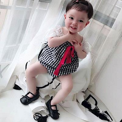 Baby unicorn 黑白格紋蕾絲短袖包屁衣