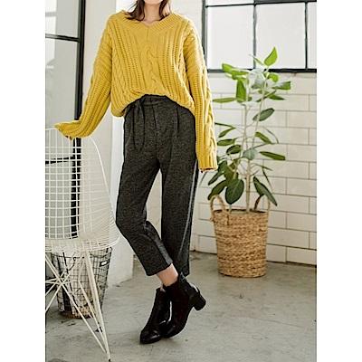 混色調附綁帶造型寬鬆闊腿褲-OB大尺碼