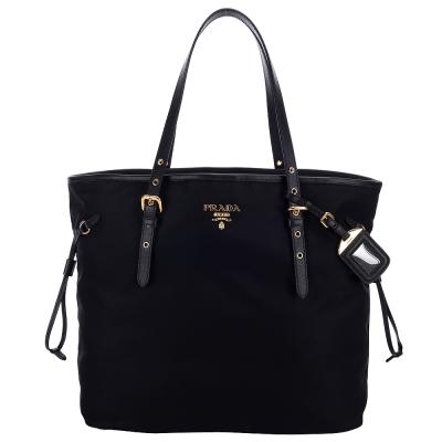 PRADA-牛皮抽繩尼龍購物包-中-黑色