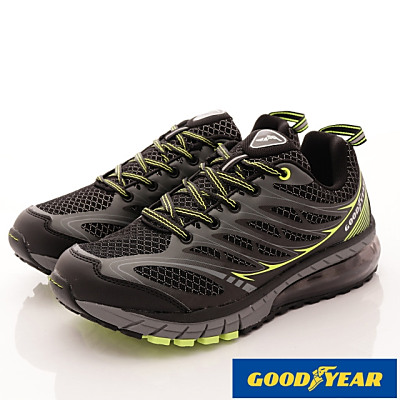 GOODYEAR-透氣緩震氣墊跑鞋-SE3375黑綠(男段)