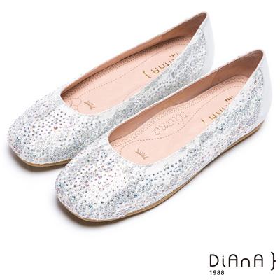 DIANA 漫步雲端焦糖美人款--五彩水鑽蕾絲娃娃鞋-銀