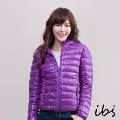ibs 極輕量純白絨連帽羽絨外套-紫色-女