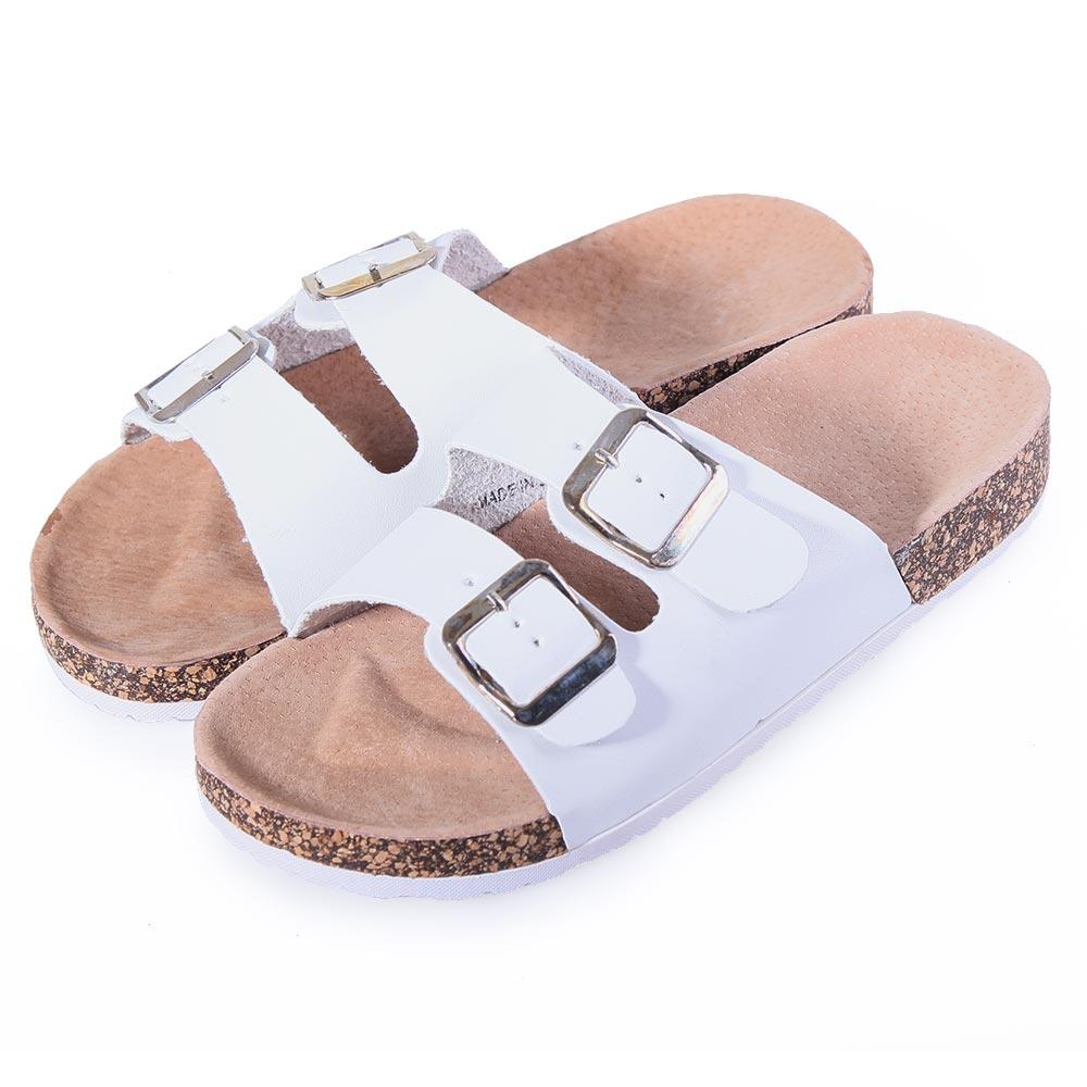 TTSNAP自然軟木-寬版真皮雙帶增高休閒涼拖鞋 白