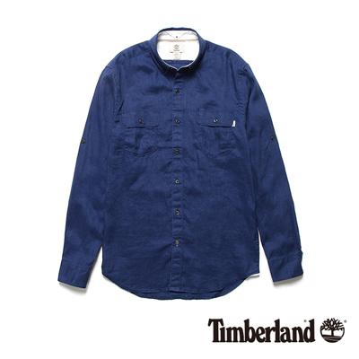 Timberland-男款藍色素面亞麻長袖工作襯衫