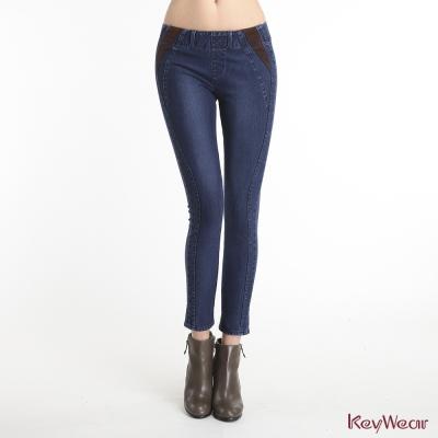 KeyWear奇威名品-合身保暖顯瘦中腰牛仔褲